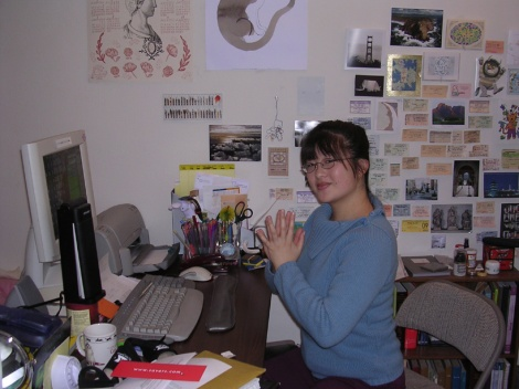 Lisa in her 'home office'