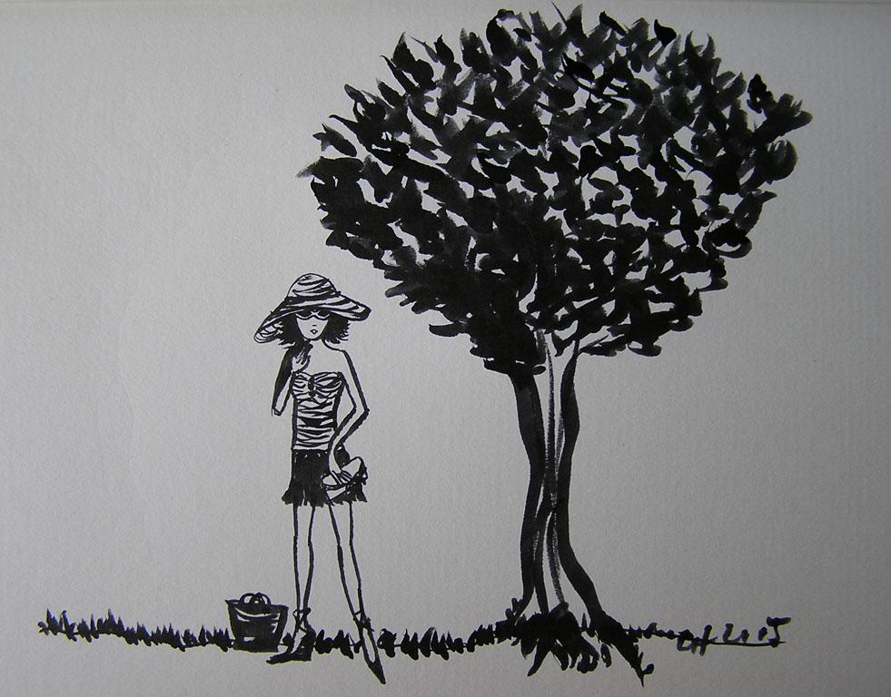 Girl under tree
