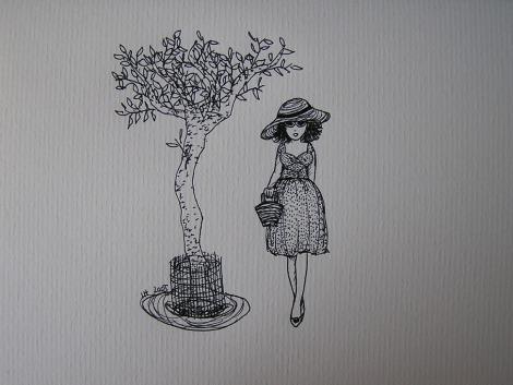 Girl walking by tree