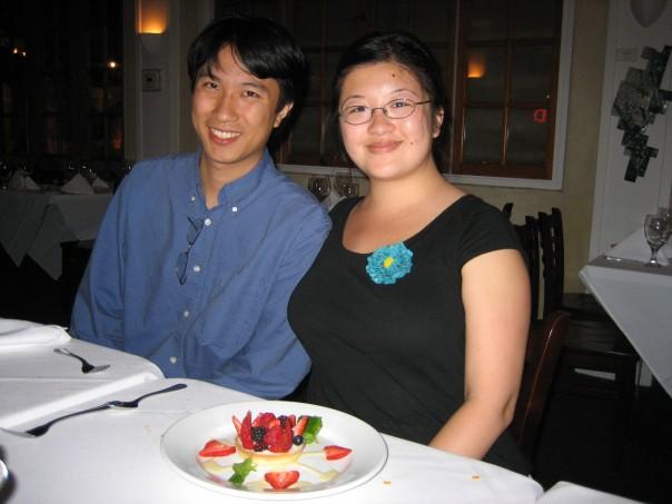 Lisa and Erik with Lisa's dessert