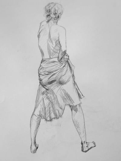 Pencil drawing of a topless girl standing with her back to us