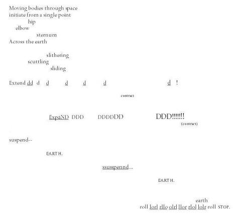 Poetic translation of dance movements