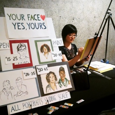 Lisa Hsia creating live portraits at the Oakland Museum of California
