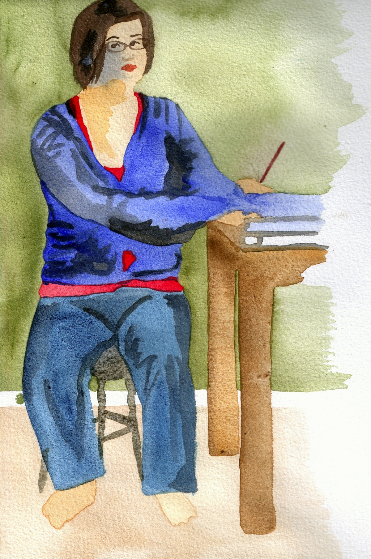 Watercolor drawing of myself seated at desk