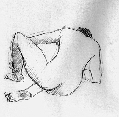 Four-minute sketch by my husband of me nude