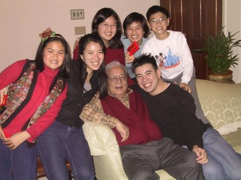My grandpa and grandkids in 2001