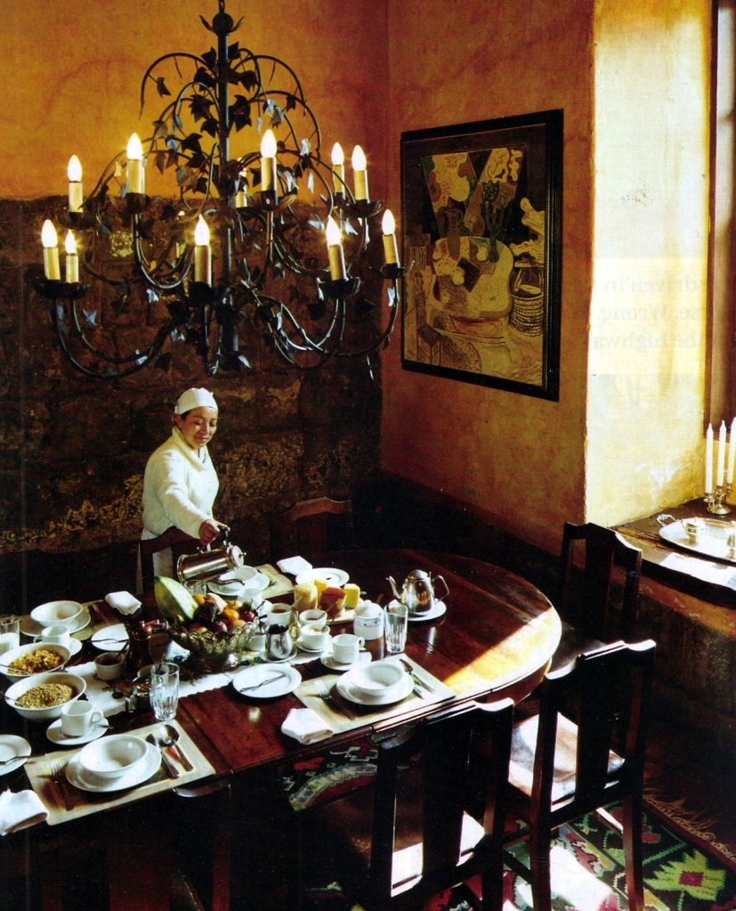 Set breakfast table in an old hacienda