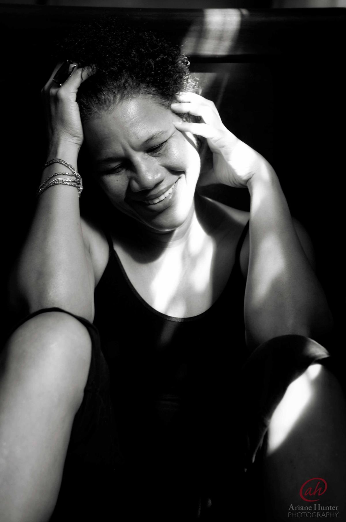 BW portrait of a smiling woman