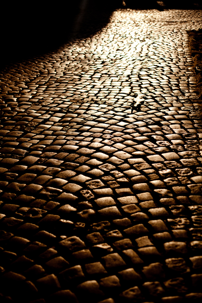 Cobblestone path at night