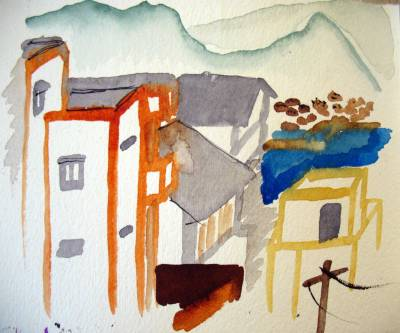 Watercolor sketch of houses and mountains