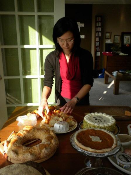 Kay arranging baguette slices