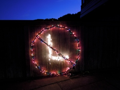 """Christmas lights in the shape of a """"no smoking"""" sign with an L in it"""