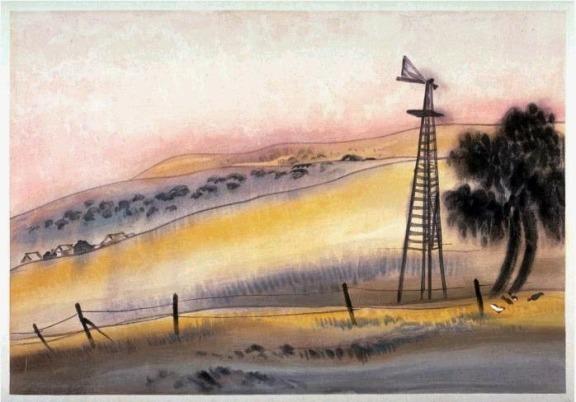 Chiura Obata: Dawn, Knights Ferry, Stanislaus County (1930)