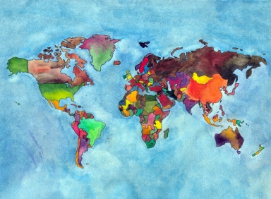 Completed world map, drawn by Lisa Hsia with help from a Mercator projection, finished with watercolor