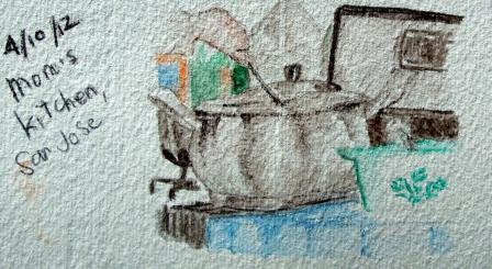 Mom's kitchen sketch with watercolor pencils