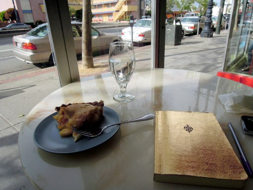 Pie, water, and journal
