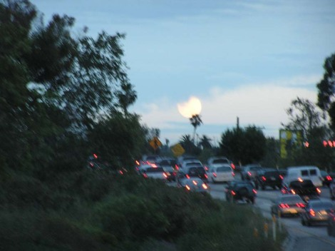 Moon over the 101 freeway, LA