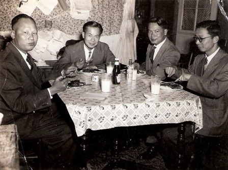 Gong-Gong and friends at restaurant, 1940s