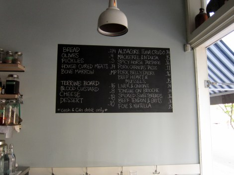 chalkboard with menu
