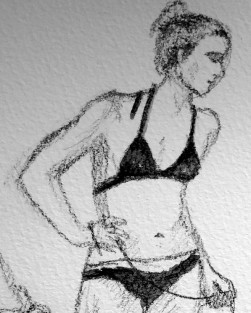 Pencil sketch of a slim young woman in minimal black lingerie
