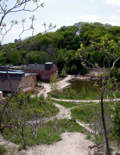 Evergreen Brick Works and park from above