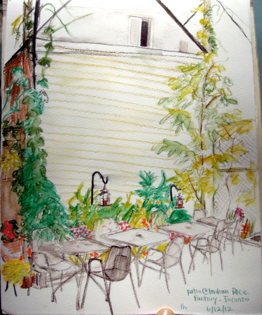 Sketch of Indian Rice Factory patio