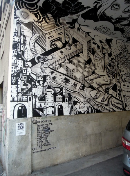 Parking-space walls and ceiling covered in B/W cartoony paintings