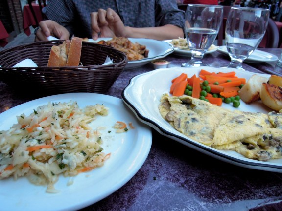 Omelette dinner at Mazurka restaurant