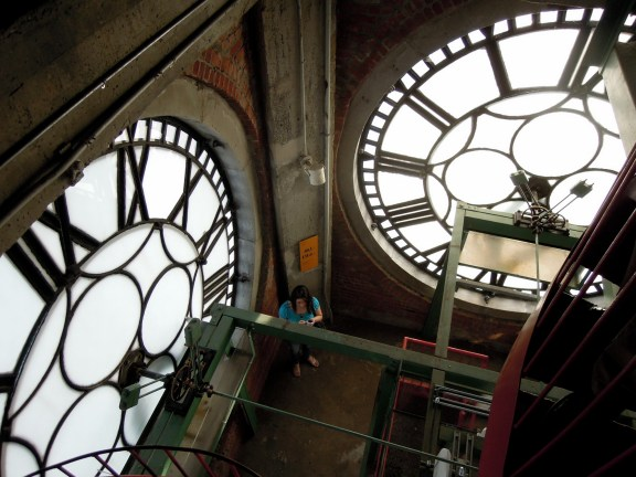 Above the clock faces