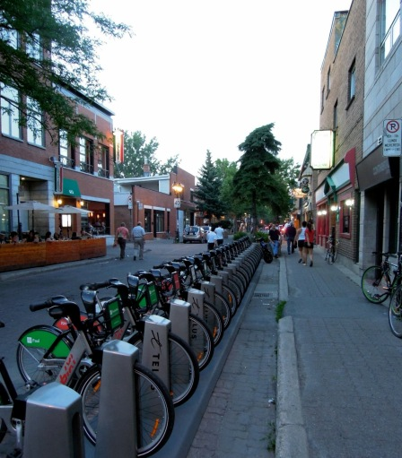 Public bike-sharing docks in Montreal