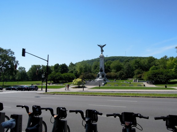 View of Mont-Royal from the Bixi station across Avenue du Parc