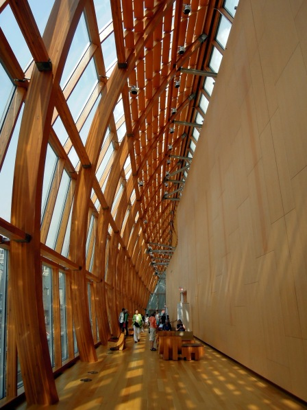 Curved wood-and-glass wall, AGO
