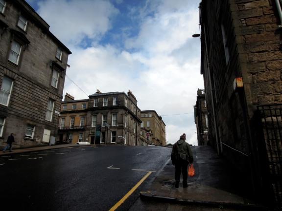 uphill street in Glasgow