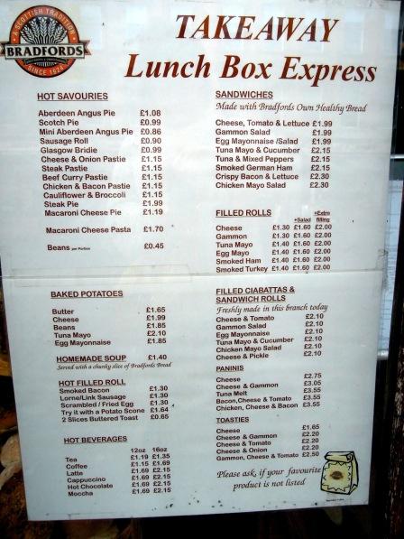 Bradfords's menu, including Aberdeen Angus Pie and Gammon Salad Sandwiches