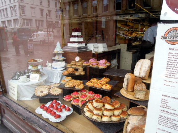 Window display of many baked goods