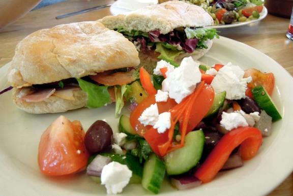 Ham sandwich (with greens) and Greek salad