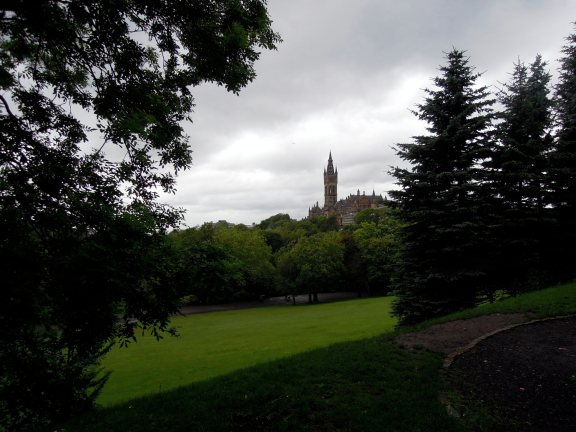 University of Glasgow Tower, seen from the park