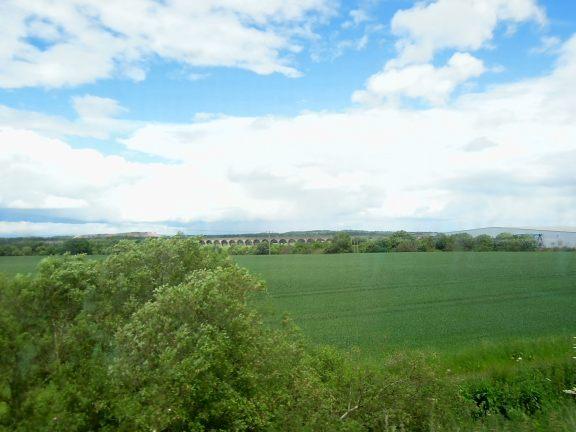 View from train to Edinburgh: grass and a stone bridge