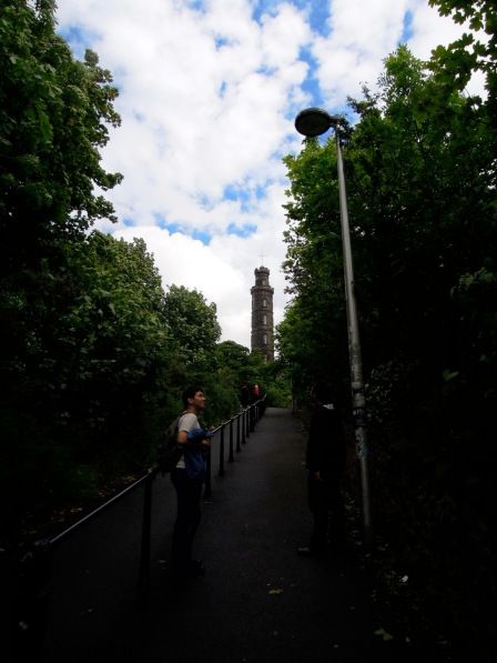 Ascending the short trail to Calton Hill