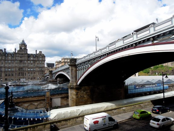 North Bridge and Balmoral Hotel as seen from steps leading down to Market Street