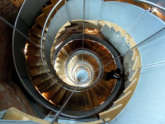 Erik descending the spiral staircase in the Mackintosh Tower