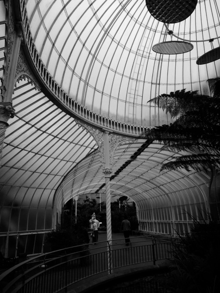Inside the Kibble Palace, in black and white