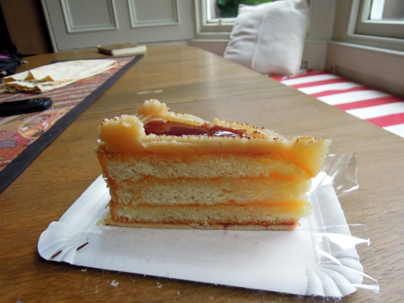 Slice of marzipan and jam cake