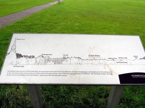 Sign showing the Edinburgh skyline