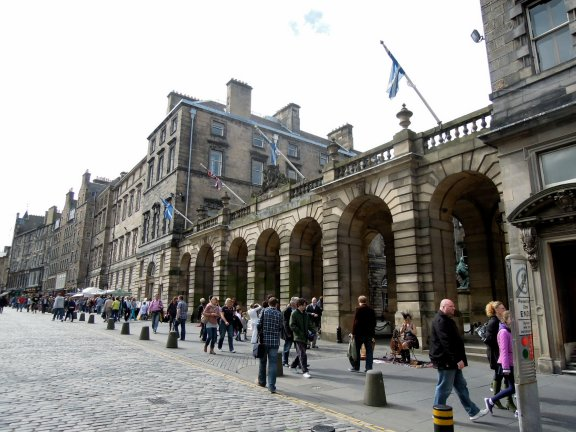 Stone arches of the City Chambers, Royal Mile, Edinburgh.
