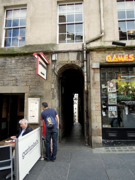 Stevenlaw's Close, one of the many little passageways and stairs that lead off the Royal Mile to courtyards or even streets above and below.