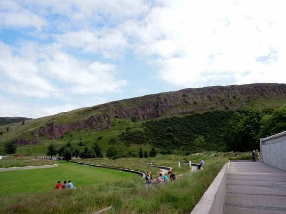 View of Holyrood Park from next to the Parliament building
