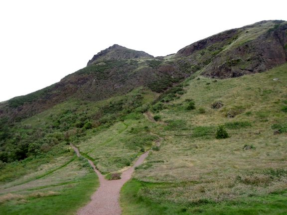 Fork in the trail at Holyrood Park