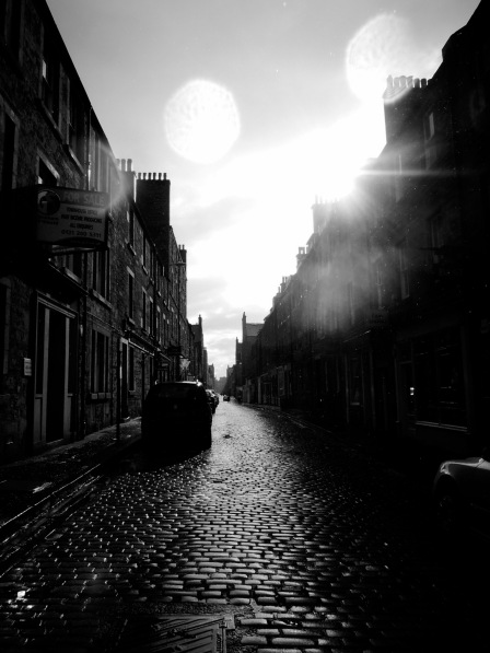 B/W photo of Thistle Street: raindrops on the lens, sunshine