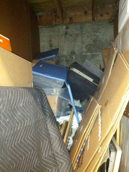 Messy storage unit with everything in a shambles